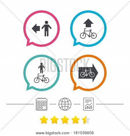 Pedestrian road icon. Bicycle path trail sign. Cycle path. Arrow symbol. Calendar, internet globe and report linear icons. Star vote ranking. Vector