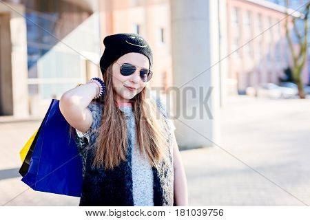 10 Years Old Girl Child On Shopping In The City