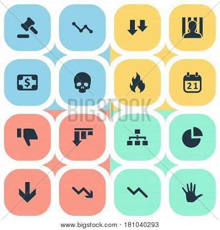 Vector Illustration Set Of Simple Impasse Icons. Elements Bar Graph, Down Cursor, Net And Other Synonyms Graph, Greenback And Court.