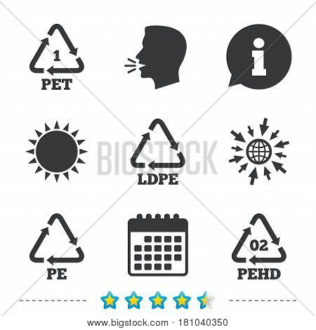 PET, Ld-pe and Hd-pe icons. High-density Polyethylene terephthalate sign. Recycling symbol. Information, go to web and calendar icons. Sun and loud speak symbol. Vector