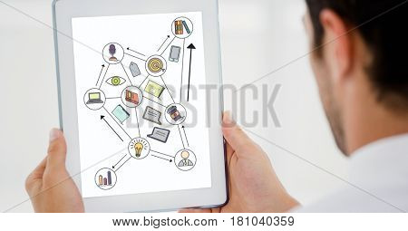 Digital composite of Cropped image of businessman using digital tablet with various icons on device screen