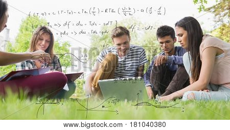 Digital composite of Digitally generated image of formulas with college students studying while sitting on field in backg