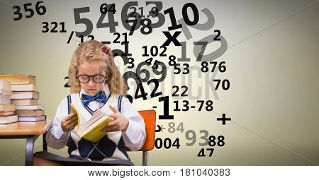 Digital composite of Digitally generated image of girl studying with numbers flying against beige background