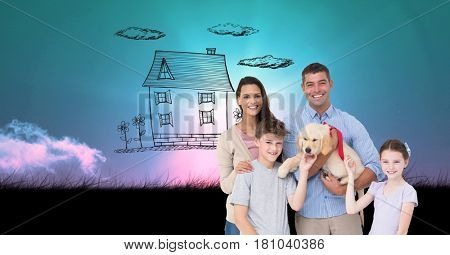 Digital composite of Digitally generated image of family and dog with house drawn in sky