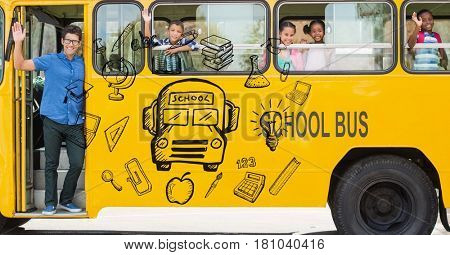 Digital composite of Digitally generated image of various icons with teacher and students waving hands in school bus