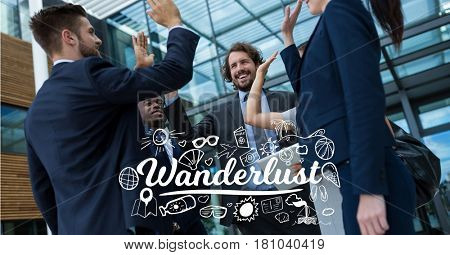 Digital composite of Digitally generated image of text and icons with business people high-fiving against building