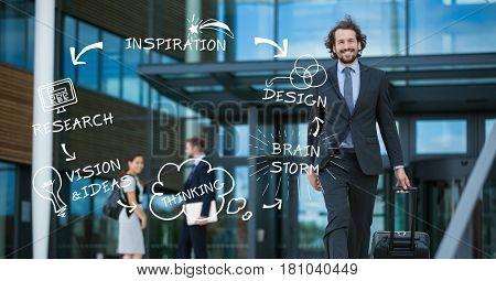 Digital composite of Various icons and text with businessman walaking against building