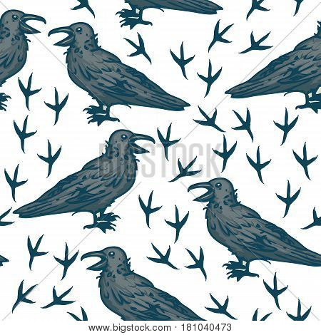 Seamless Vector Pattern with Big Black Crows and Footprints on a White Background
