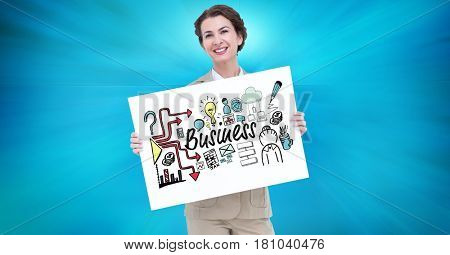 Digital composite of Portrait of businesswoman holding billboard with business text and various icons against blue backgr