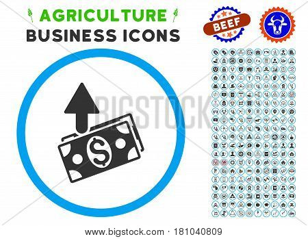 Expences rounded icon with agriculture business pictogram pack. Vector illustration style is a flat iconic symbol inside a circle, blue and gray colors. Designed for web and software interfaces.