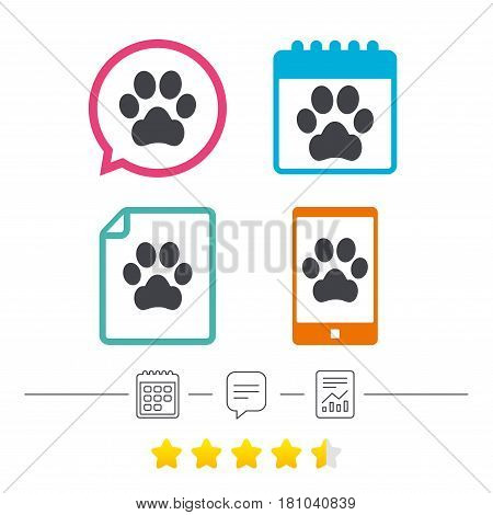 Dog paw sign icon. Pets symbol. Calendar, chat speech bubble and report linear icons. Star vote ranking. Vector