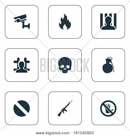 Vector Illustration Set Of Simple Police Icons. Elements Explosive, Blaze, Arrested And Other Synonyms Health, Cranium And Blaze.