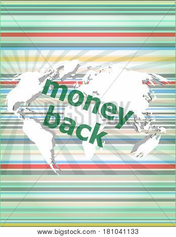 Words Money Back On Digital Screen, Business Concept. Concept Of Citation, Info, Testimonials, Notic
