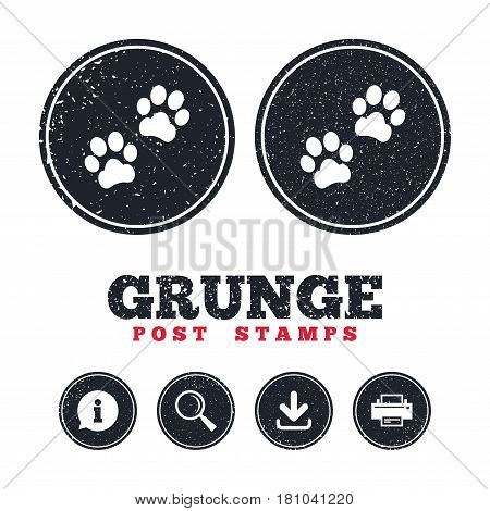 Grunge post stamps. Paw sign icon. Dog pets steps symbol. Information, download and printer signs. Aged texture web buttons. Vector