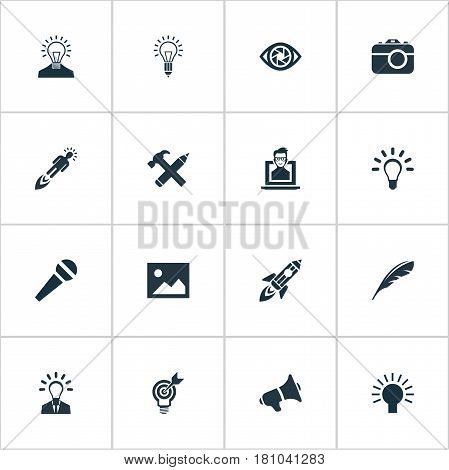 Vector Illustration Set Of Simple Visual Art Icons. Elements Lightbulb, Concentration, Pencil And Other Synonyms Creativity, Lightbulb And Microphone.