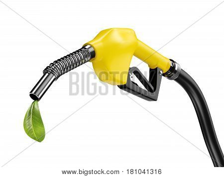 Yellow fuel pump nozzle with green leaf. Bio eco fuel concept. 3d rendering
