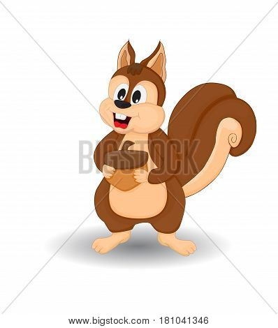 cartoon funny squirrel smiling holding pinecone isolated