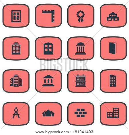 Vector Illustration Set Of Simple Architecture Icons. Elements Shelter, Engineer Tool, Flat And Other Synonyms Downtown, Superstructure And Offices.