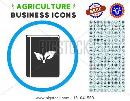 Flora Book rounded icon with agriculture business glyph package. Vector illustration style is a flat iconic symbol inside a circle, blue and gray colors. Designed for web and software interfaces.