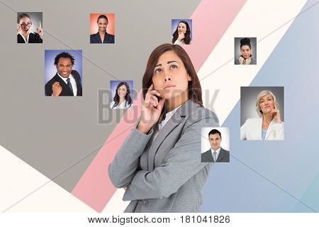 Digital composite of Digitally generated image of thought businesswoman looking for human resourcing