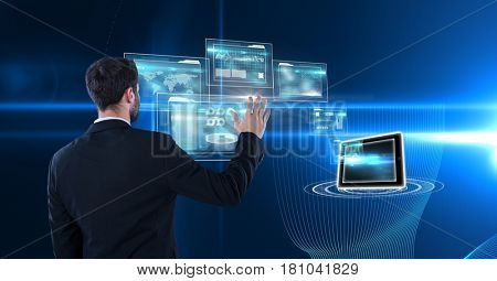 Digital composite of Digitally generated image of businessman touching futuristic screen