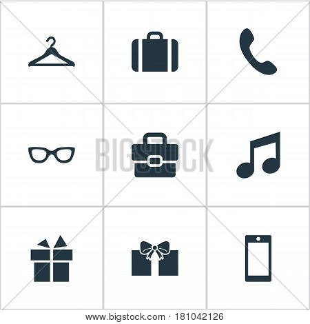Vector Illustration Set Of Simple  Icons. Elements Briefcase, Eyeglasses, Business Bag And Other Synonyms Giveaways, Sunglasses And Phone.