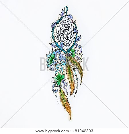 Sketch beautiful dreamcatcher on a white background.