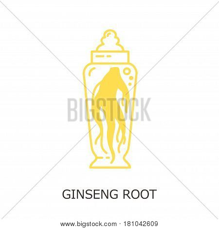 Logo template - ginseng root. EPS 10 Isolated object.