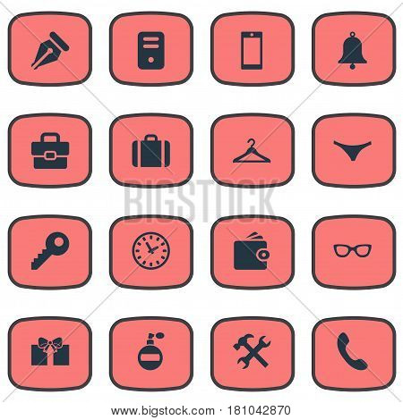 Vector Illustration Set Of Simple Accessories Icons. Elements Eyeglasses, Password, Gift And Other Synonyms Device, Phone And Tool.