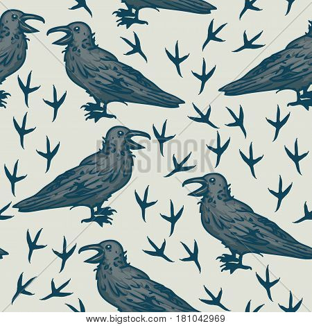 Seamless Vector Pattern with Big Black Crows and Footprints on a Gray Background