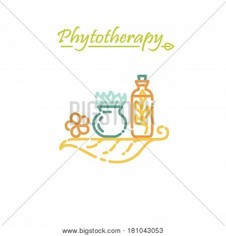 Logo template - phytotherapy. EPS 10 Isolated object