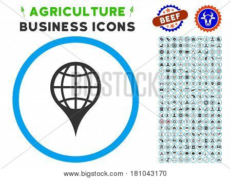 Global Location rounded icon with agriculture business icon pack. Vector illustration style is a flat iconic symbol inside a circle, blue and gray colors. Designed for web and software interfaces.