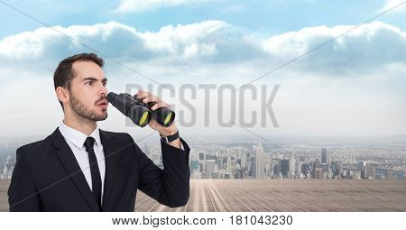 Digital composite of Thoughtful businessman using binoculars against city