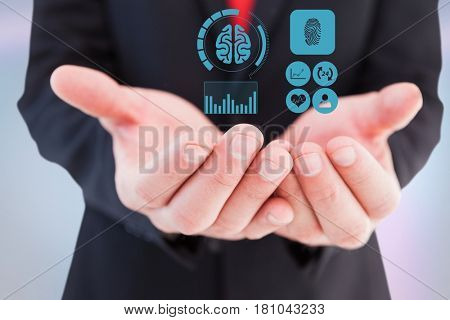 Digital composite of Digitally generated image of various icons on hand of businessman