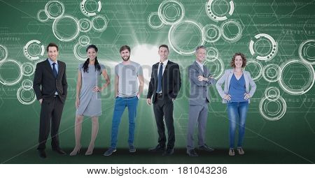 Digital composite of Digitally generated image of confident business people with tech graphics in background
