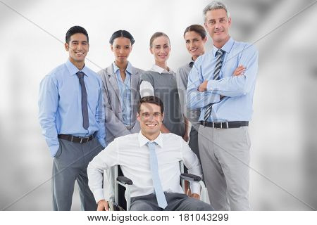 Digital composite of Portrait of confident business people against blurred background