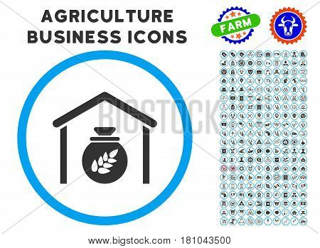 Grain Storage rounded icon with agriculture business pictogram clipart. Vector illustration style is a flat iconic symbol inside a circle, blue and gray colors.