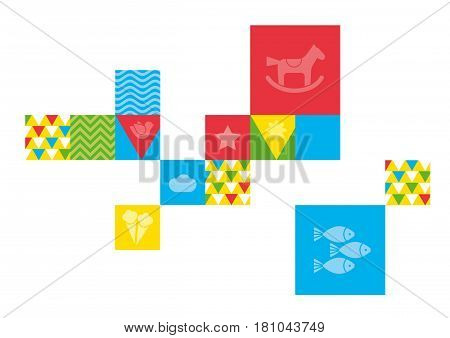 Children theme. Vector elements for design of the children's room, shop, shop window. Sketches on the theme of home, family. vector illustration