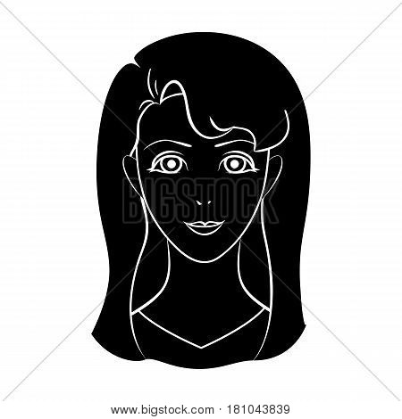 Avatar girl with white hair.Avatar and face single icon in black style vector symbol stock web illustration.
