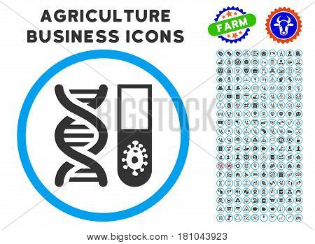 Hitech Microbiology rounded icon with agriculture business pictogram package. Vector illustration style is a flat iconic symbol inside a circle, blue and gray colors.
