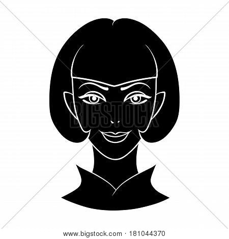 Avatar girl with short hair.Avatar and face single icon in black style vector symbol stock web illustration.