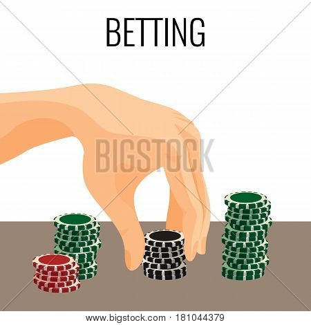 Betting concept. Hand moving poker chips isolated on white background. Vector illustration of colorful gambling chips, award icons, money in the game