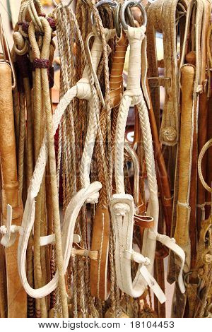 Leather horse reins
