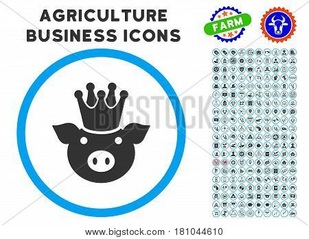 King Pig rounded icon with agriculture commercial glyph kit. Vector illustration style is a flat iconic symbol inside a circle, blue and gray colors. Designed for web and software interfaces.