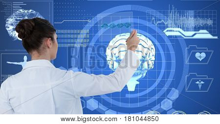 Digital composite of Digitally generated image of female doctor touching futuristic screen