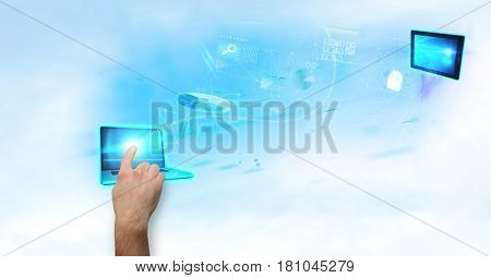 Digital composite of Digitally generated image of hand touching laptop screen with various icons in background