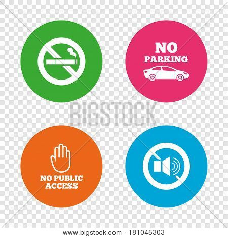 Stop smoking and no sound signs. Private territory parking or public access. Cigarette and hand symbol. Round buttons on transparent background. Vector