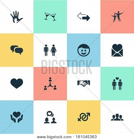 Vector Illustration Set Of Simple Mates Icons. Elements Gossip, Helpful, Friendship And Other Synonyms Discrepancy, Arrows And Beverage.