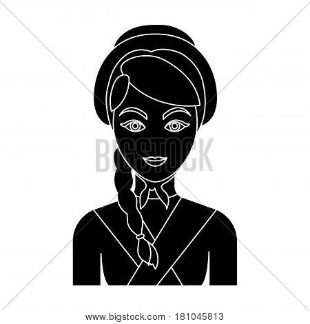 Girl with a braid and in a headdress.The dark Belgian wolf. Belgium single icon in black style vector symbol stock web illustration.