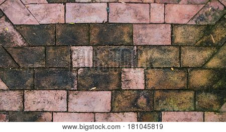A top view of pavement brick with water stain background.